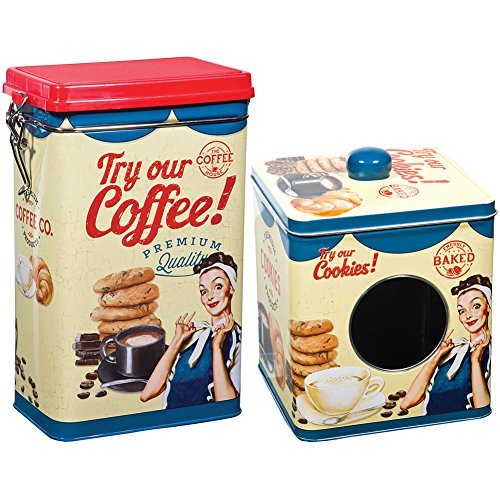 Vintage-Look Cookie and Coffee Food Safe Tin Box Set Sugar & Flour Canisters