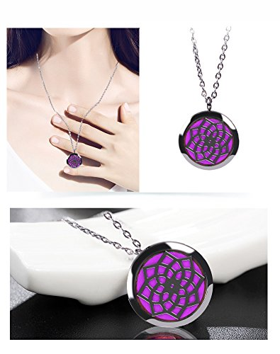 """Fragrance Scented Necklace, Essential Oil Diffuser Necklace Perfume Locket for Girls or Women Gift Set Hypo-Allergenic Surgical Grade Stainless Steel 24"""" Chain + 8 Felt Pads"""