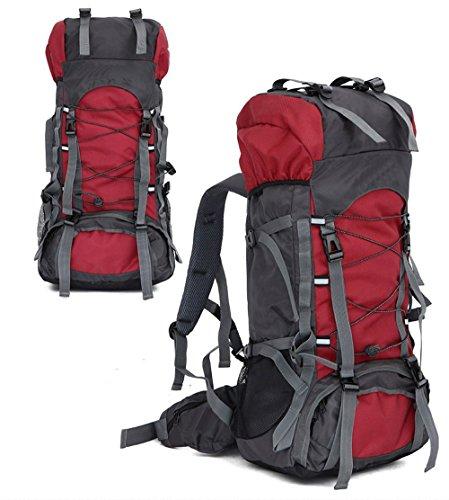 EocuSun 60L大容量 軽量 アウトドア スポーツバッグ キャンプ ハイキング リュック 旅行バックパック 登山用バッグ 多用途 トートバッグ ショルダーバッグ 男女兼用 (レッド)