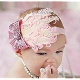 Bluesky Ovely Unusal Cotton Girls Baby Pink Feather Hairband Light Bow Headband + Thanksgiving card