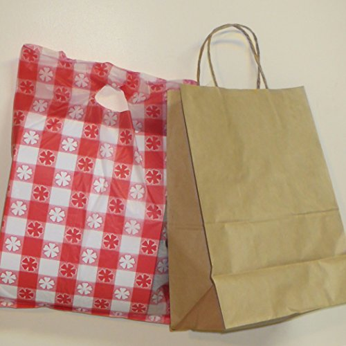 Brown Paper Bag With Handle 10x5x13- 24/Pack with 1 party bag as pictured