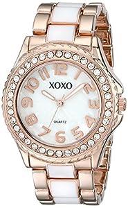 XOXO Women's XO5472 Rose Gold-Tone and White Epoxy Bracelet Watch