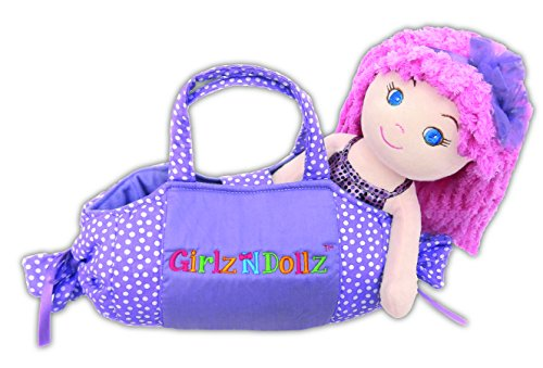 "Ashlee Cute with Purple Bag Stuffed Soft Rag Doll Baby Kids 14""/8"" Girlzndollz"