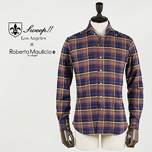 ROBERTO MAULICIO DA SWEEP!! ロベルトマウリシオ バイ スウィープ!! チェック柄 フランネルシャツ (ネイビー)