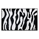 InterDesign Zebra 34-Inch by 21-Inch Rug, Black/White
