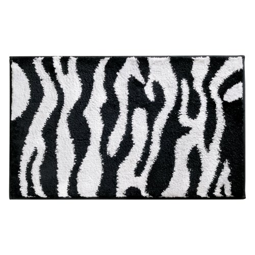 InterDesign Microfiber Zebra Bathroom Shower Accent Rug - 34