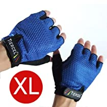 BLUE - Weightlifting gloves mens for men (SIZE EXTRA LARGE). Sport gloves for weight lifters. Gym fitness gloves size X-Large. Exercise gloves for men made with palm weight grip padding. Fingerless gloves - Color BLUE