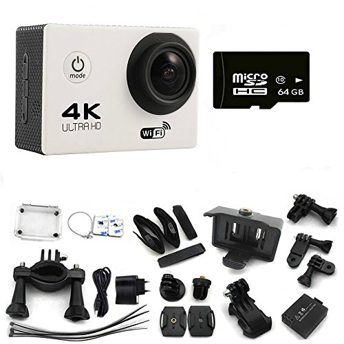 Ultimate-4K-30-fps-Wifi-Waterproof-30M-Extreme-Sport-Action-Camera-with-64-GB-SD-Card-Mini-Helmet-Cam-Recorder-Marine-Diving-Wide-Angle-Lens-and-tons-of-Accessories-SILVER