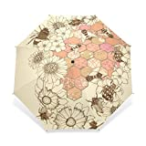 Yochoice Ultralight Foldable Travel Umbrella,Pretty Sunflower Art Watercolour Pattern,Anti Windproof Tested Compact Ultraslim Sport Umbrellas Rain Umbrella