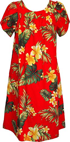 Rjc Womens Tropical Summer Hibiscus Tea Length Hawaiian Muumuu House Dress Red 3X