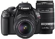 Canon デジタル一眼レフカメラ EOS Kiss X50 ブラック ダブルズームキット KISSX50BK-WKIT