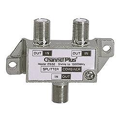2 Way Splitter Combiner Bi-Directional 1 GHz Video Signal Coaxial DC Block Coax Cable Splitter UHF / VHF TV Antenna Combiner 5-1000 MHz