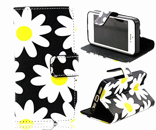 5s Case, iphone 5s Case, ARTMINE Cute Daisy Premium Durable PU Leather Flip Folio Book Style Wallet Protective Skin Pouch Phone Case & Magnetic Closure with Credit ID Card Slot [ Kickstand View Feature ] for Apple iphone 5s Verizon, AT&T, Sprint, T-Mobile