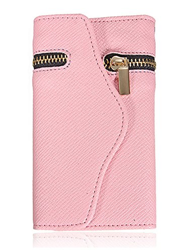 Mylife (Tm) Cherry Blossom Pink With Gold Zipper {Glamorous Design} Faux Leather (Card, Cash And Id Holder + Magnetic Closing + Hand Strap) Slim Wallet For The Iphone 5C Smartphone By Apple (External Textured Synthetic Leather With Magnetic Clip + Interna