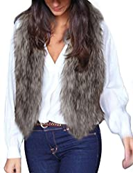 OVERMAL Lady Faux Fur Vest Waistcoat Long Hair Winter Warm Coat Outwear