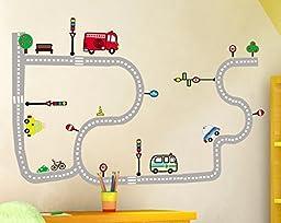 Karnotech® Traffic Wall Decals Traffic Roads Train Deco Transports Kid Nursery Room Stickers Tattoos