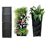 Tinksky Garden Hanging Wall Planter Soft Fabric Container Planter Grow Bag 4 Pockets