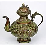 Redbag Decorative Kettle With Floral Carving - Brass Craft ( 20.32 Cm, 20.32 Cm, 7.62 Cm )