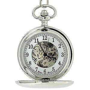 Boxx Mens Silver Tone Skeleton Mechanical Pocket Watch 12 Chain Boxx244