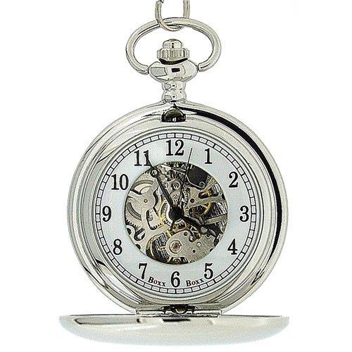 Boxx Mens Silver Tone Skeleton Mechanical Pocket Watch 12