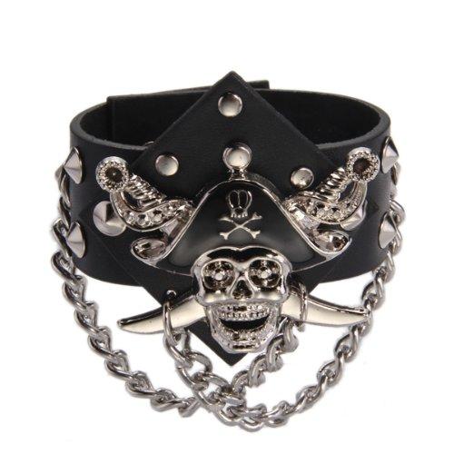 Metal Pirate Skull Punk Chain Leather Bangle Cuff Bracelet Wristband Men
