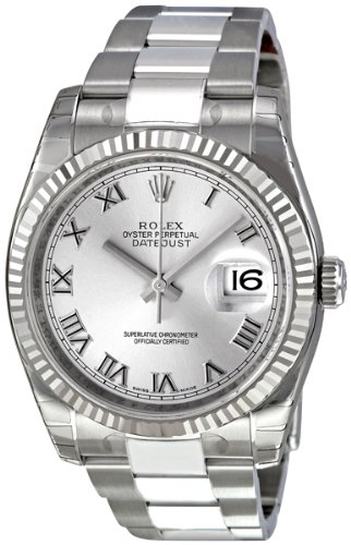 Rolex Perpetual Datejust Rhodium Dial Stainless Steel 18kt White Gold Mens Watch 116234RRO