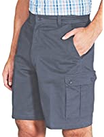 Mens Cotton Cargo Shorts with 4 pockets and Side Elastication 32 - 54""