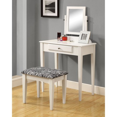 White Vanity With Mirror front-39480