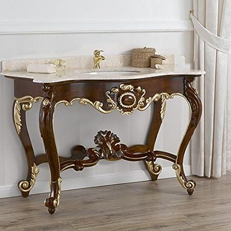 Consolle lavabo stile Luigi Filippo Inglese noce particolari foglia oro marmo crema