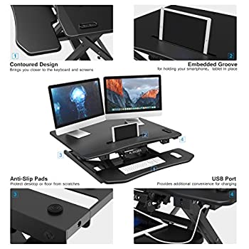 "LANGRIA Electric Standing Desk, Height Adjustable Stand up Desk Converter, Ergonomic 32""x 25"" Large Desktop Sit Stand Workstation X-Frame Fits Two Monitors USB Charging iPhone iPad Stand Black"