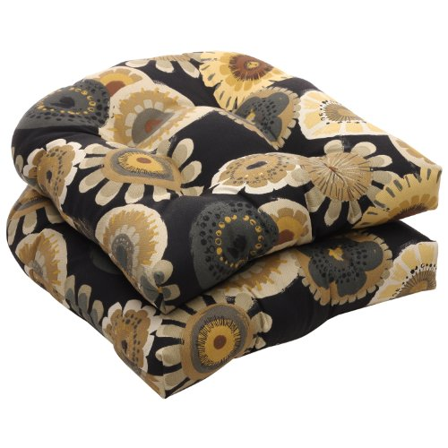 Pillow Perfect Indoor/Outdoor Black/Yellow Floral Wicker Seat Cushions, 2-Pack image