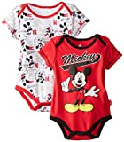 Disney Baby Baby-Boys Newborn Mickey Mouse 2 Pack Bodysuit, Red, 6-9 Months