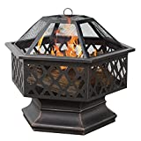 Fire Pit Hex Shaped Bowl Place Outdoor Outside