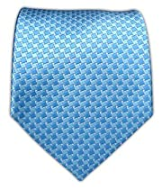 100% Silk Woven Sky and Ocean Blue Neat Tie