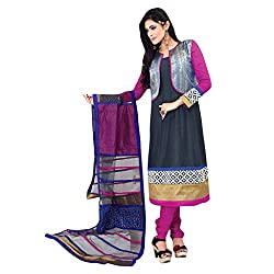 Yes Fashions Women's Party wear Blue Chanderi Cotton+Sleeves Chiffon Semi Stitched Salwar Suit