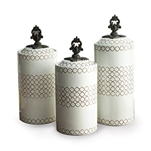 Amazon Com American Atelier Canisters White Set Of 3