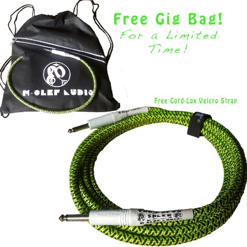 New 12Ft Hosa Cable Gtr Guitar Instrument Cable - The Whyte Snake - Green Tweed Braided Cloth Electric Bass Keyboard Cord