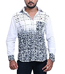 PP Shirts Men Cotton Casual Shirt ( White XXXL )