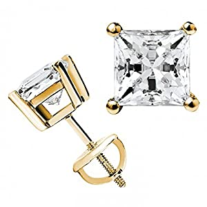 Diamond Impressions DI2008318 Certified 3.9 Ct. 14k Yellow Gold Princess Cut Diamond Stud Earrings D-E VVS2