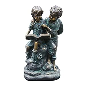 Alpine Girl and Boy Reading Together Statue