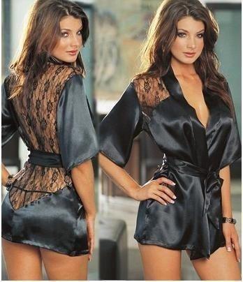 LandPure@ Fashion Black Satin Black Sexy Lingerie Unterwäsche Nachtwäsche Pyjamas Kostüm Robe und G-String Free Size