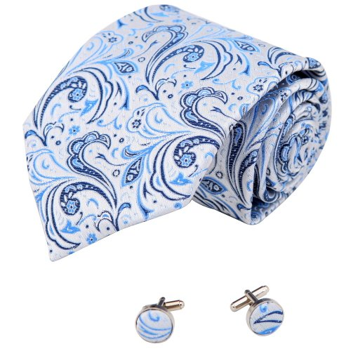 Blue Florals Cheap Ties For Men White Pattern Valentine Handmade Silk Neck Tie Cufflinks Set A2091 One Size Blue