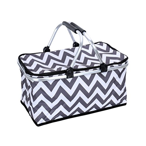 Sprucebay Insulated Picnic Basket - Strong Aluminum Frame - Collapsible Design for Easy Storage - Take it Camping, Picnicking, Lake Trips, or Family Vacations - Keeps Food Cold (White Roller Cooler compare prices)