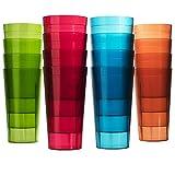 Cafe Break-Resistant Plastic 20oz Restaurant-Quality Beverage Tumblers   Set of 16 in 4 Assorted Colors.