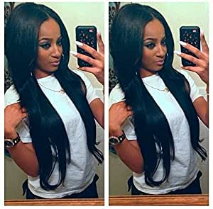 """Sunwell Sunwell 100% Virgin Human Hair Silky Natural Straight Lace Front Wigs 1b# 14"""""""