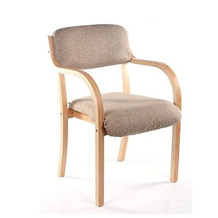 Inicio / taburete de muebles de interior para ocio Silla de madera, café casero Escritorio del hotel Armario del respaldo (marrón claro) durable de BZEI-Chair