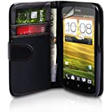 HTC ONE S Black PU Leather Wallet Case With Screen Protector Film And Grey Micro-Fibre Polishing Clo