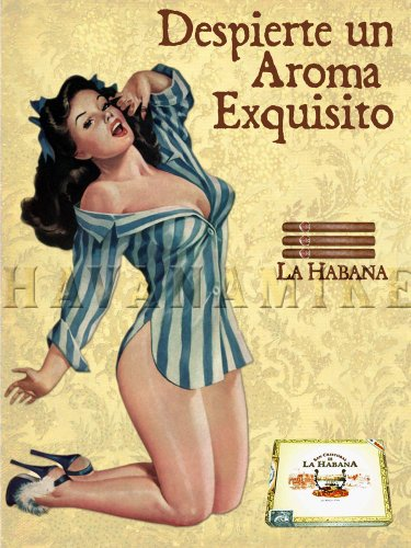La HABANA Cuban Cigar Vintage-Style PINUP GIRL Poster Art Print - measures 24