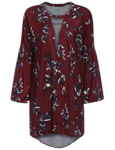 ROMWE Women's Loose Long Sleeve Keyhole Flowery Floral Beach Dress Red M