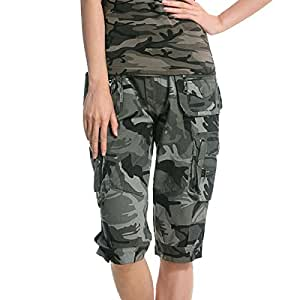 aubig damen m dchen baumwolle camouflage camo printed bermuda shorts sommer cargoshorts. Black Bedroom Furniture Sets. Home Design Ideas